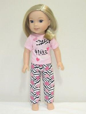 """Doll Clothes Pink Elephant Pajamas PJs For 14.5/"""" Wellie Wishers American Girl"""