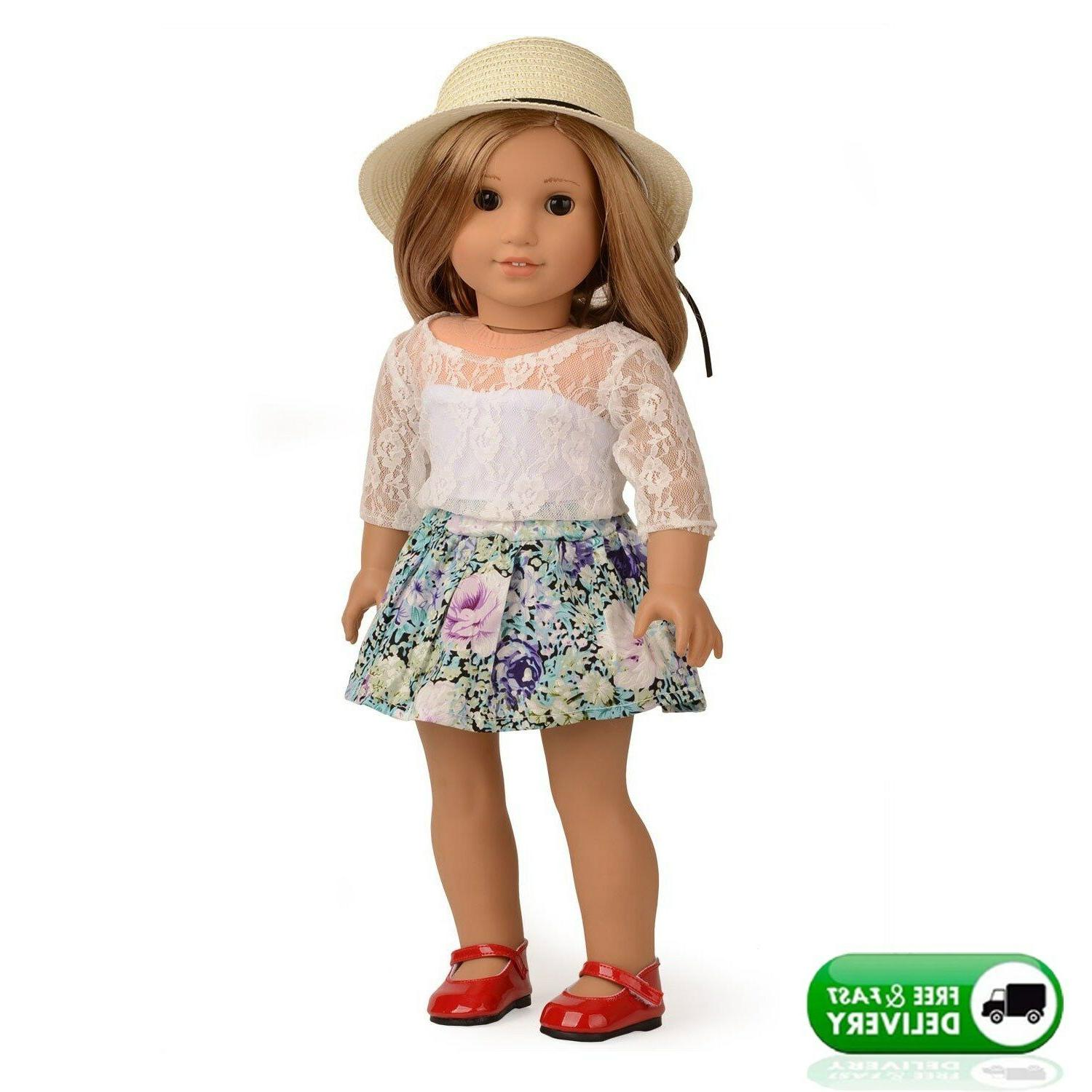 doll clothes lace top floral skirt set