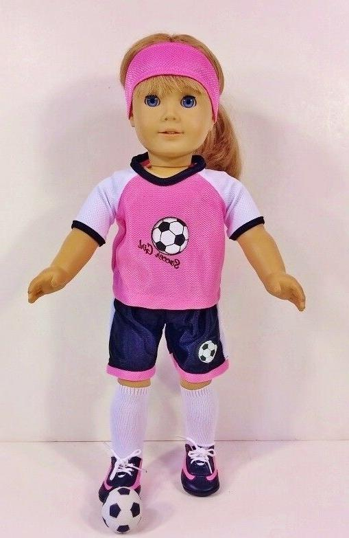 "Doll Fits 18"" American Girl 4 Outfits C Mouse Soccer NEW"