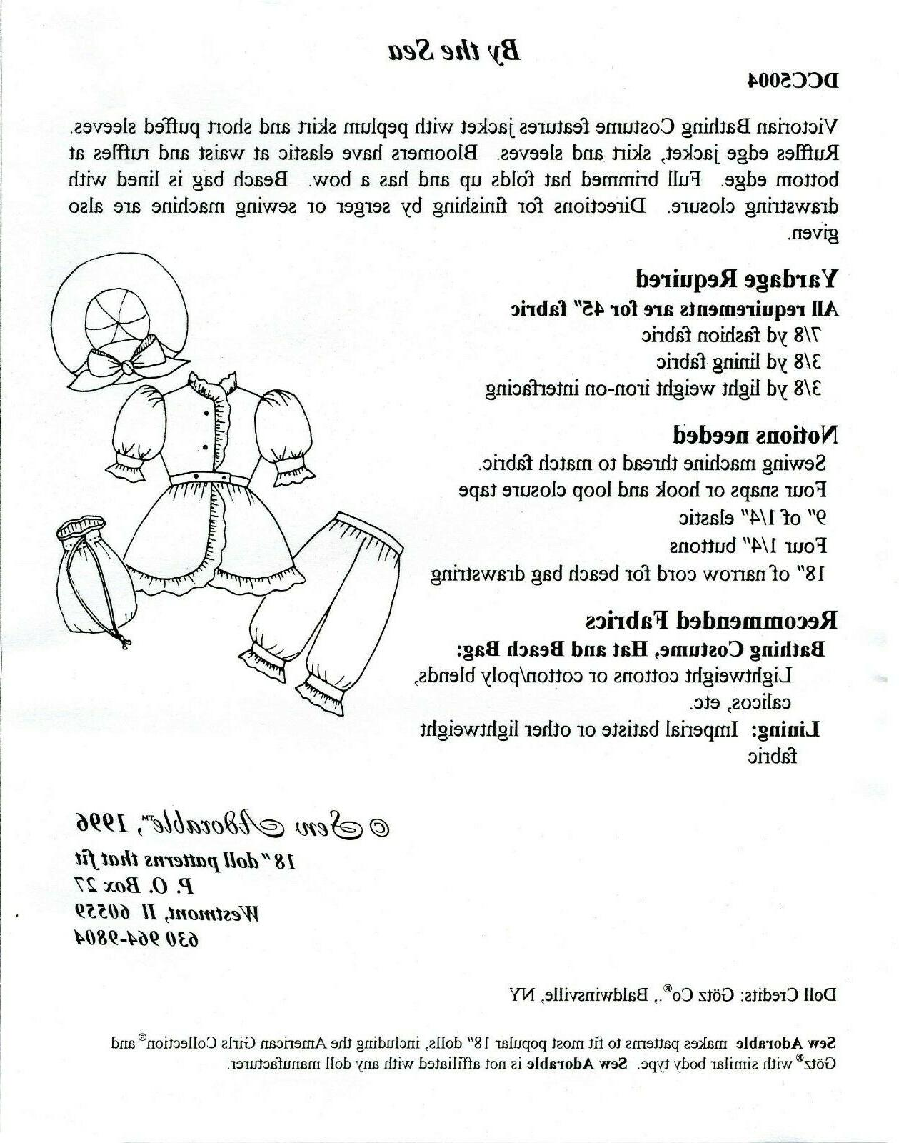 Sew Adorable Doll Clothes Pattern, Victorian Costume