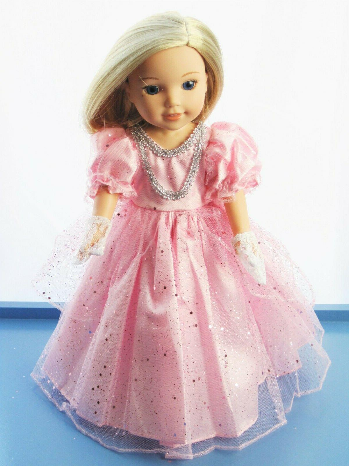 "Doll Clothes Pink Sparkle Princess Dress For 14.5"" Wellie Wi"