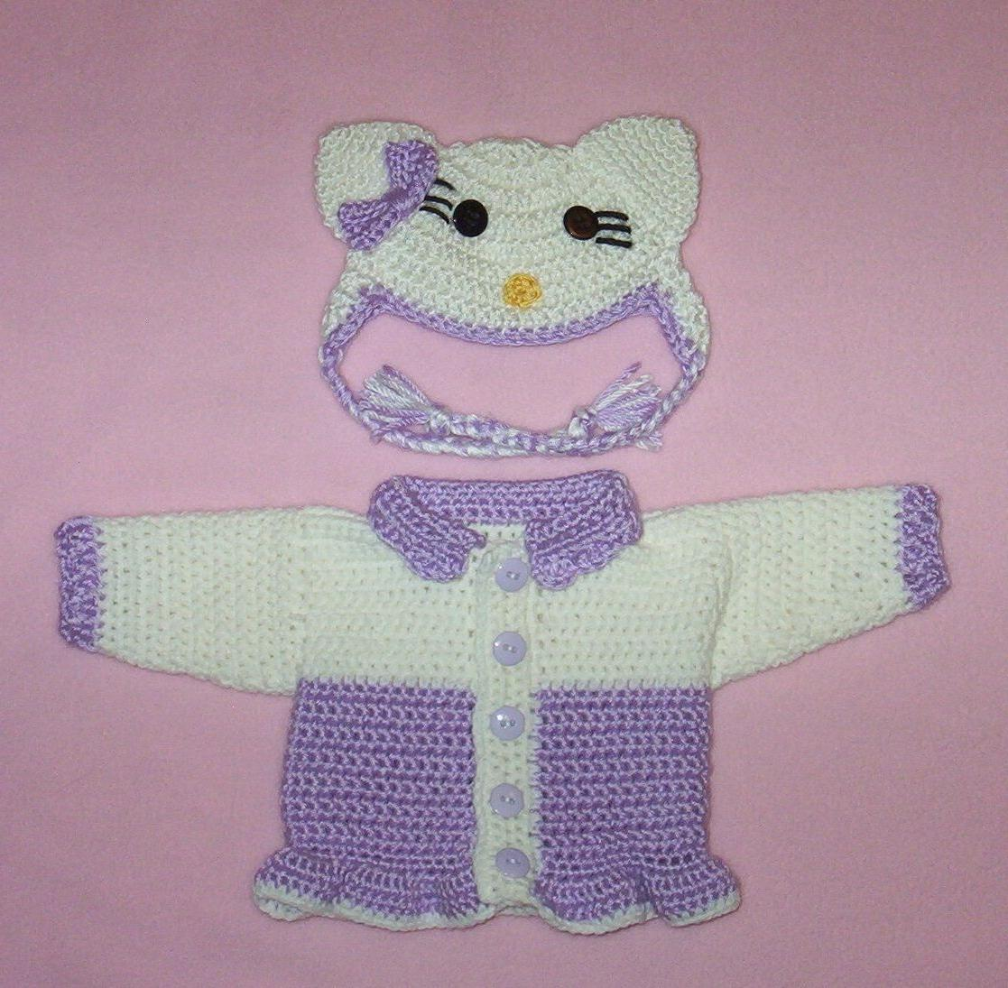 doll clothes purple hello kitty sweater hat