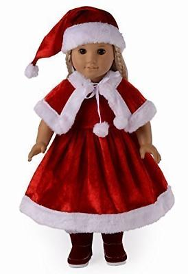 doll clothes santa christmas dress outfit fits