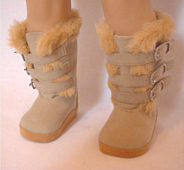 doll clothes suede and fur trim boots
