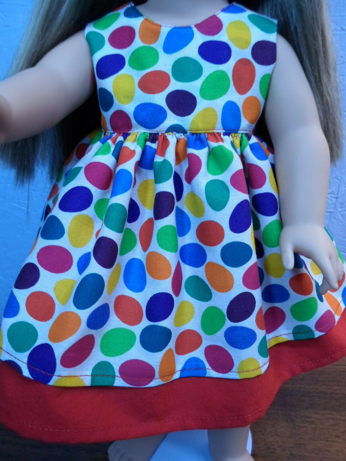 DOLL DRESS NEW red primary color Easter fit my
