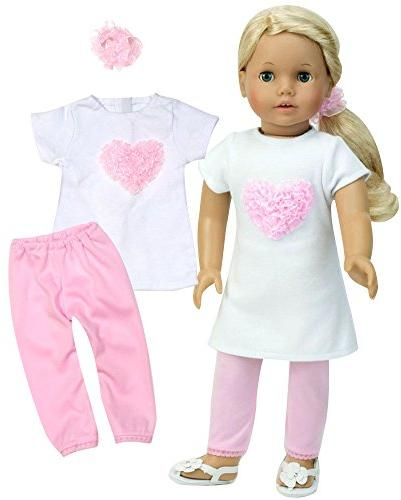 doll outfit short sleeve heart