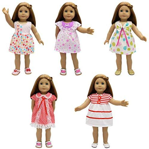 ZITA Baby Clothes - 5 Sets Handmade Dresses for Inch Doll Inch Doll Gift