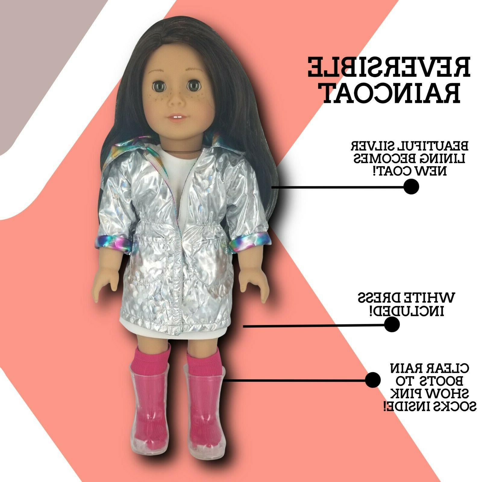 Fits American Doll Clothes -Raincoat with & Outfit