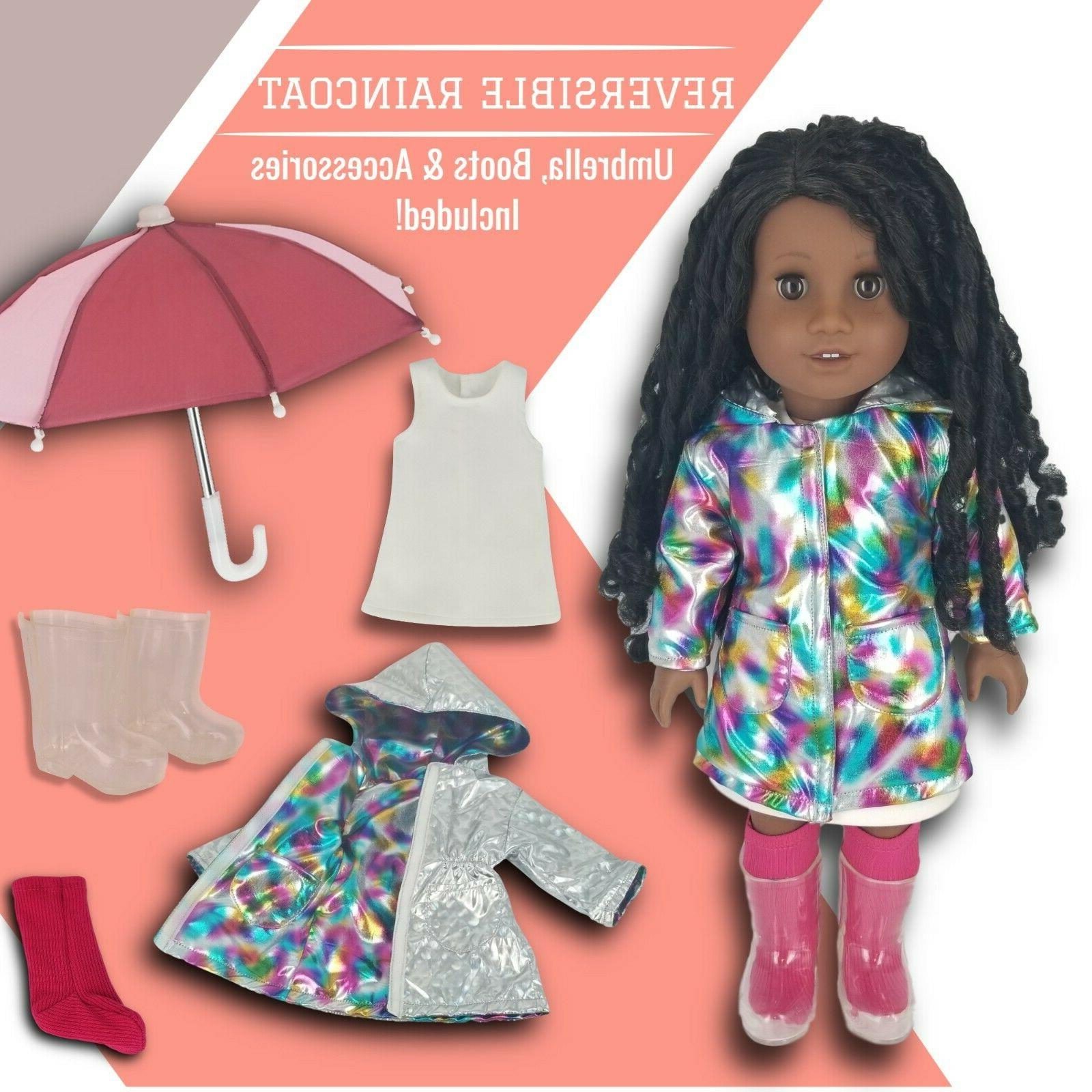 Fits American Girl Doll Clothes with Umbrella & Holiday Outfit