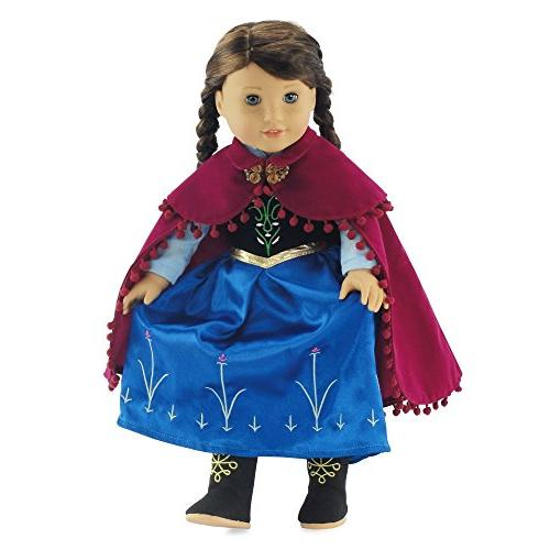 fits american girl dolls princess anna inspired dress boots