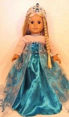 18 Inch Doll Clothes,Frozen ELSA DRESS & CROWN  fits America