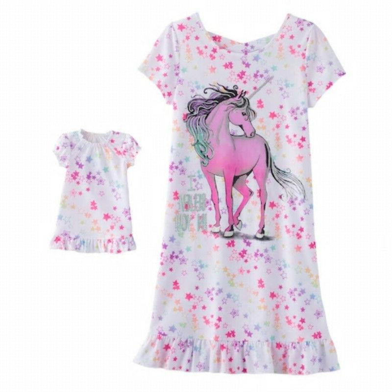 617ec8b689 Girl 4-14 and Doll Matching Unicorn Nightgown Clothes ft Ame