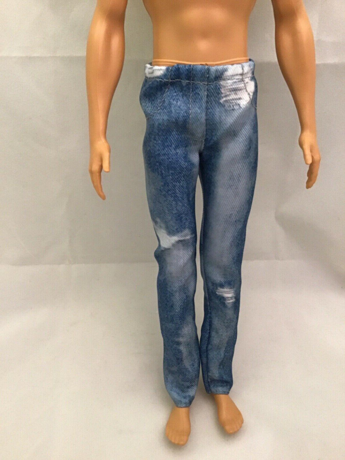 ken doll faux distressed blue jeans fashion