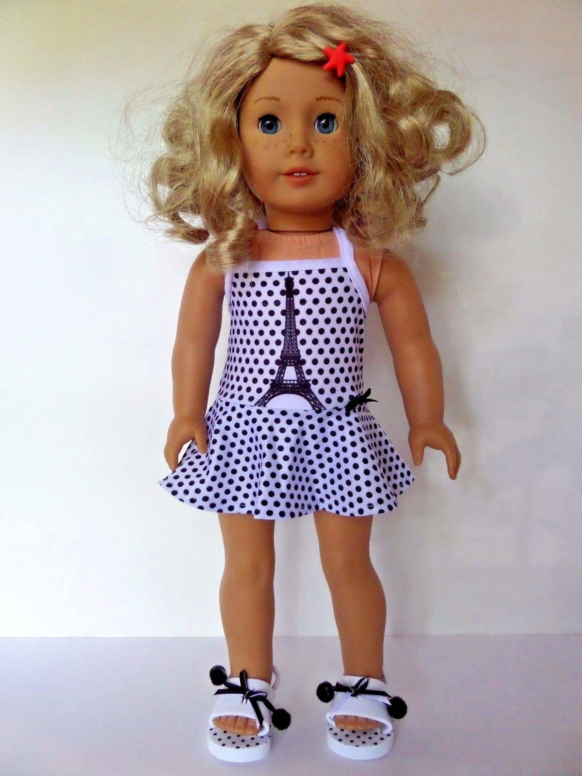Paris Eiffel Tower Swimsuit and Shoes Fits American Girl 18""