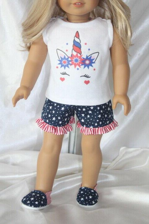 Patriotic Dress Outfit 18inch Girl Doll Clothes Lot Unicorn