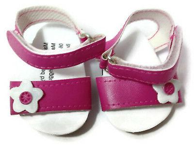 "Pink Sandal Shoes with Floral Accent made 18"" American Girl Doll Clothes"