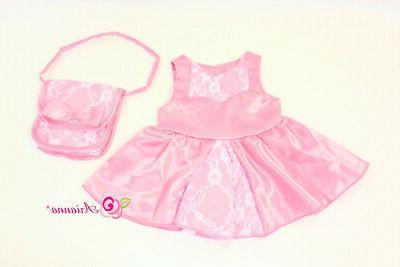 pink satin lace dress matching handbag fits
