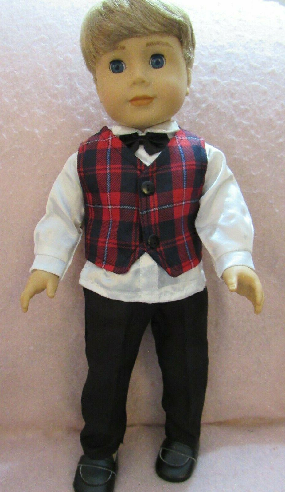 plaid vest set fits american boy doll