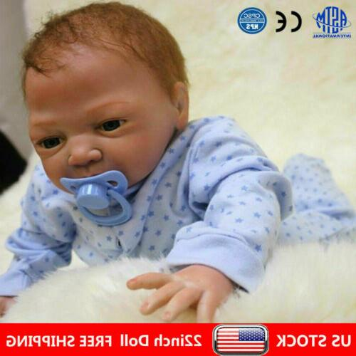 "22"" Reborn Dolls Newborn Baby Silicone Vinyl Real Baby Boy D"