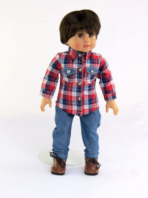 red and blue plaid shirt jean set