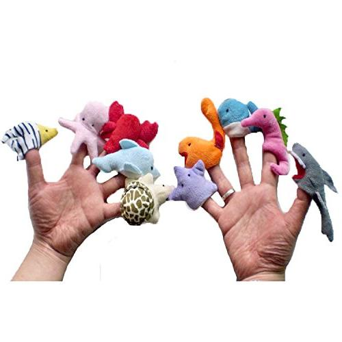 10 pcs Sea Animal Story Finger Puppet Soft Small Toys For Baby Toddler, Fingers Fun Family