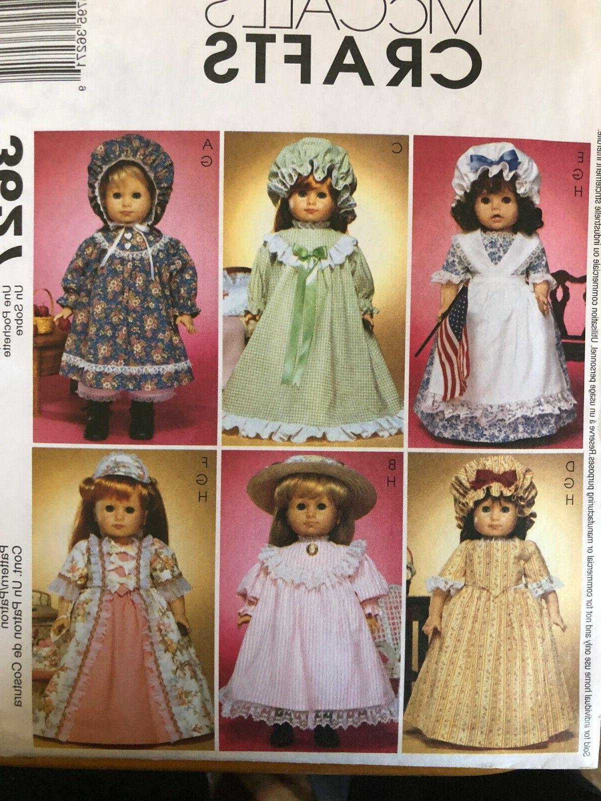 Set of 6 McCall's Crafts Uncut Doll Clothes