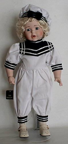 Standing Porcelain 18 Inches Doll Sailor with Sailor Cloth