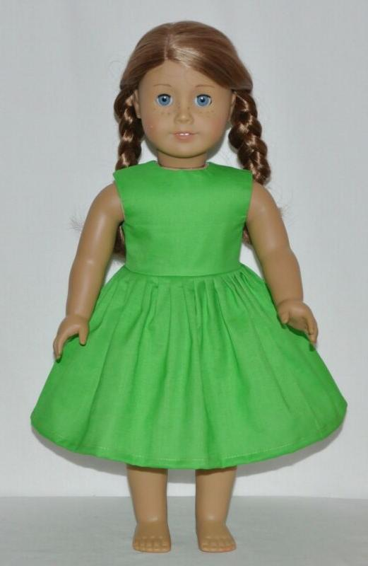 summer green doll dress clothes fits american