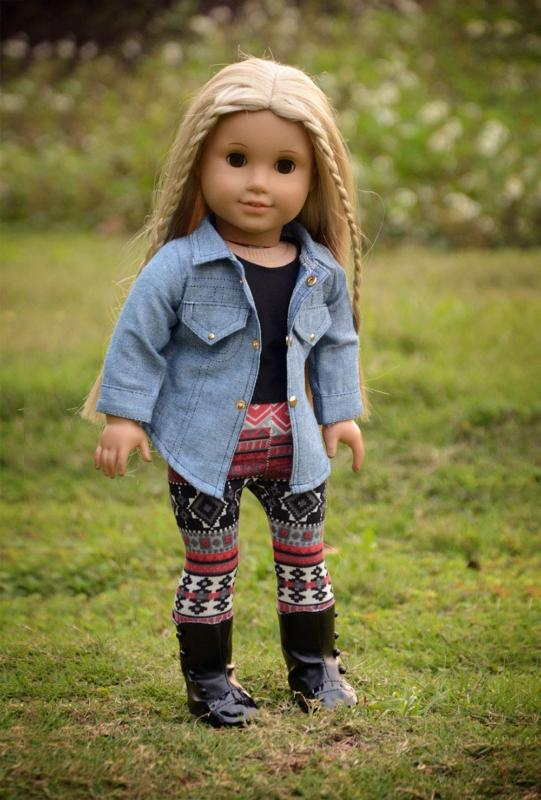 sweet dolly 4PC Doll Clothes Denim Jacket Top Leggings Outfits 18