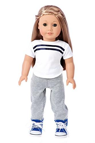 DreamWorld Collections - 4 Piece Outfit - Fits 18 Inch American Girl - Sweatpants,