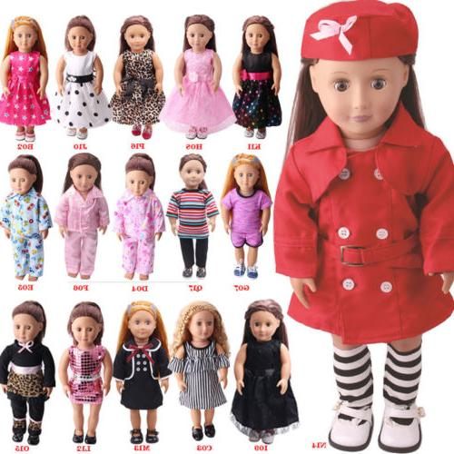 US Stock Doll Clothes Dress Outfits Pajames For 18 inch Xmas