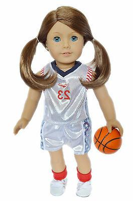 18 Inch Doll Clothes White Basketball Outfit for American Girl Dolls