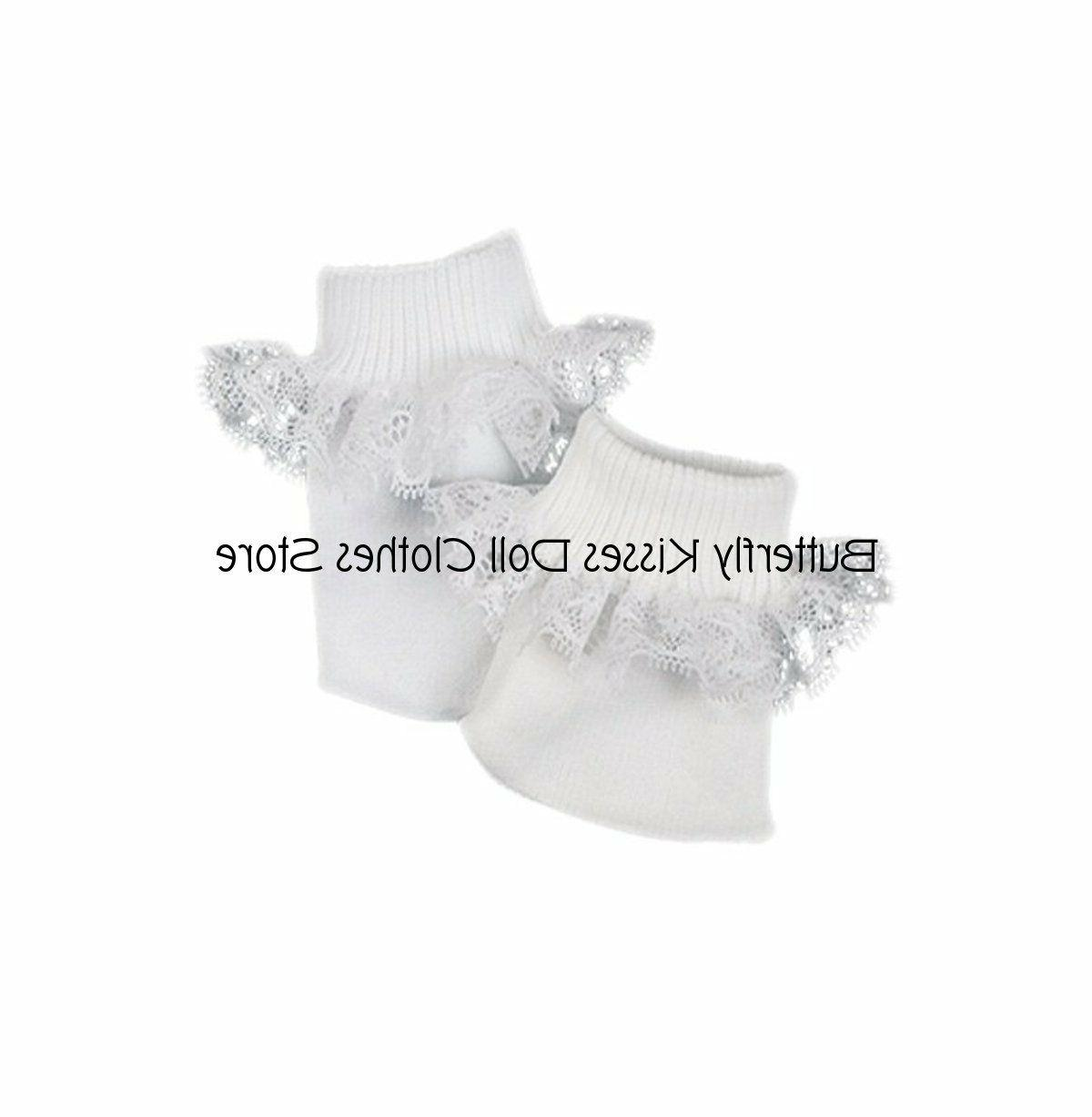 White Lace Trim Socks 18 in Fits