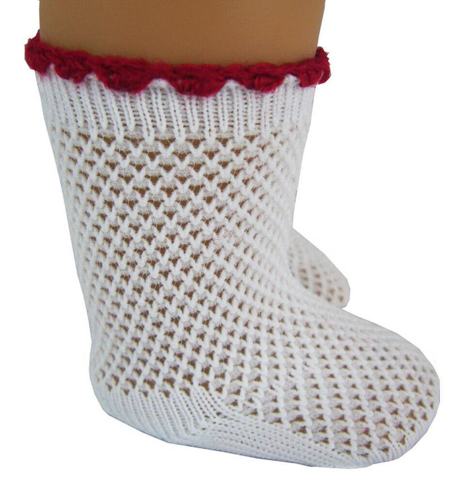 white mesh socks w red trim made