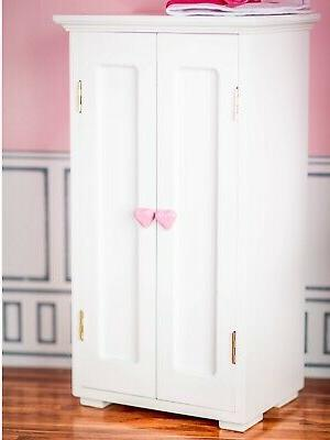 """WHITE WOODEN WARDROBE CLOTHES CLOSET TRUNK Furniture For 18"""""""