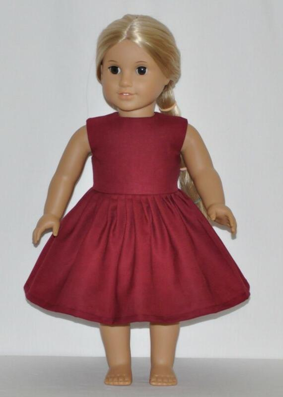 wine red doll dress clothes fits american