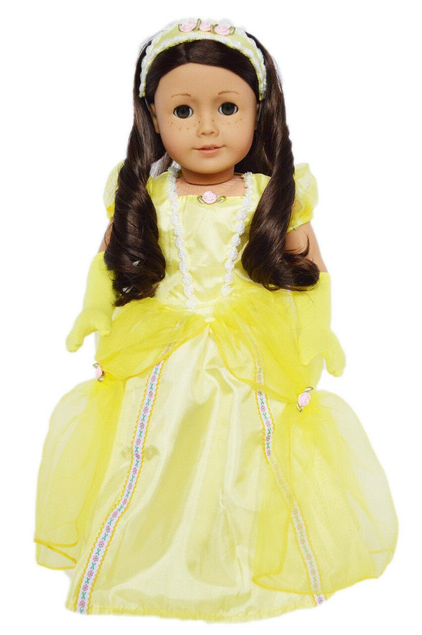 yellow princess gown for american girl dolls