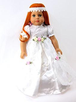 """Lace Bride with Rosettes-Fits 18"""" American Girl Dolls, Madam"""