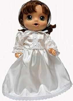 Doll Clothes Super store Lace Trim Christening Dress With Ha