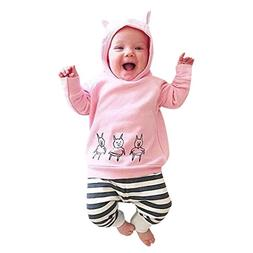 Lanhui_Sunny Baby Girls Boys Pigs Print Clothes Set Hooded T