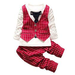 Lanhui_Sunny Toddler Baby Boys Plaid Print Tops +Pants+ Coat