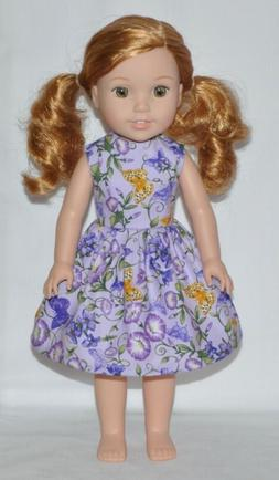 Lavender Butterfly Doll Dress Clothes Fits American Girl Wel