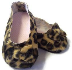 "Leopard Print Bow Shoes made for 18"" American Girl Doll Clot"