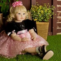 "Lifelike Toddler Doll Girl 24"" 60cm Silicone Vinyl Realistic"