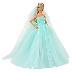 Barwa Light Blue Wedding Dress with Veil Evening Party Princ