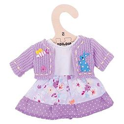 "Bigjigs Toys Lilac Rag Doll Dress and Cardigan for 11"" Bigji"