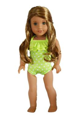 Lime Polka Dot Outfit Bathing Suit Fits 18 Inch American Gir