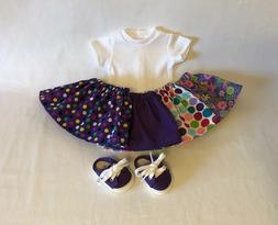 """Lot 6 Doll Clothes fit 18"""" American Girl Doll Purple Skirt S"""