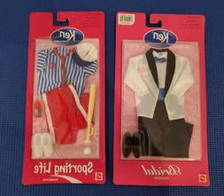 LOT of 2 Barbie's Ken Doll Fashion Outfits Clothing Baseball