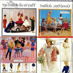 Lot of 4 Fashion Doll Clothes Butterick Sewing Patterns for
